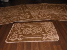 ROMANY WASHABLES TRAVELLER MATS SET 4PC NON SLIP GYPSY ROSE SUPER THICK DK BEIGE